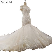 Off Shoulder Sexy High-end Custom Wedding Dresses 2018 Mermaid Luxury  Crystal Sequined Vintage Bride Gown Real Photo 11e293a98012
