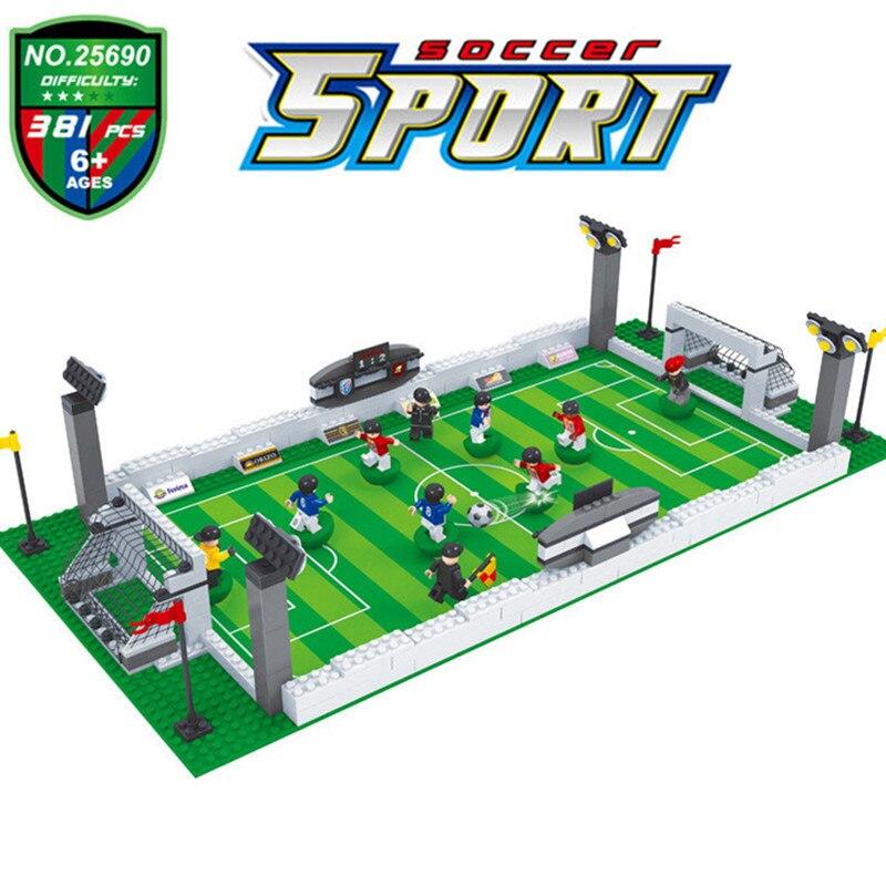 381PCS Soccer Field World Team Player Fit LegoINGLY Football Figures City Model Building Blocks DIY Toys Gift Kids Winning Cup