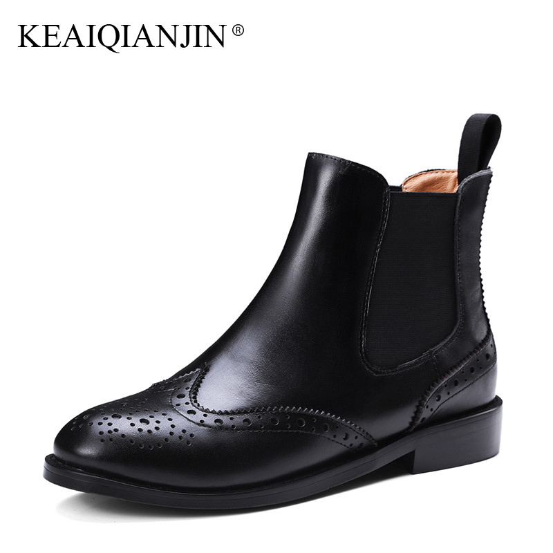 KEAIQIANJIN Woman Riding Boots Autumn Winter Plus Size 33 - 43 Doc Martins Chaussure Ankle Boots Genuine Leather Bullock Shoes keaiqianjin woman rivet motorcycle boots autumn winter bottine plus size 33 43 shoes black red genuine leather ankle boots