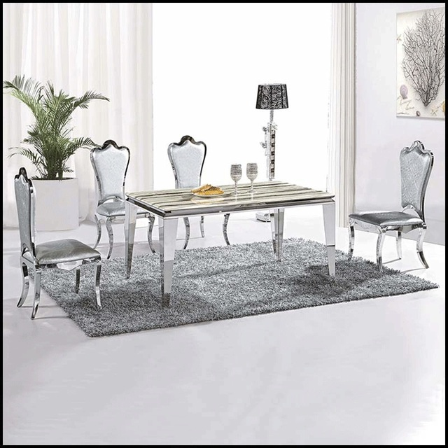 Table And Chairs Home Furniture Metal Frame Modern Clic Stainless Steel Dining Set Marble Top