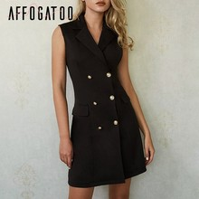Affogatoo Sexy elegant office ladies black blazer dress women Casual bodycon sleeveless double breasted Summer short dress femme(China)