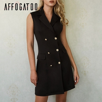 Affogatoo Sexy elegant office ladies black blazer dress women Casual bodycon sleeveless double breasted Summer short dress femme