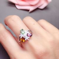 Бесплатная доставка натуральной кольцо с турмалином 925 серебро ручной работы кольца для мужчин или женщин