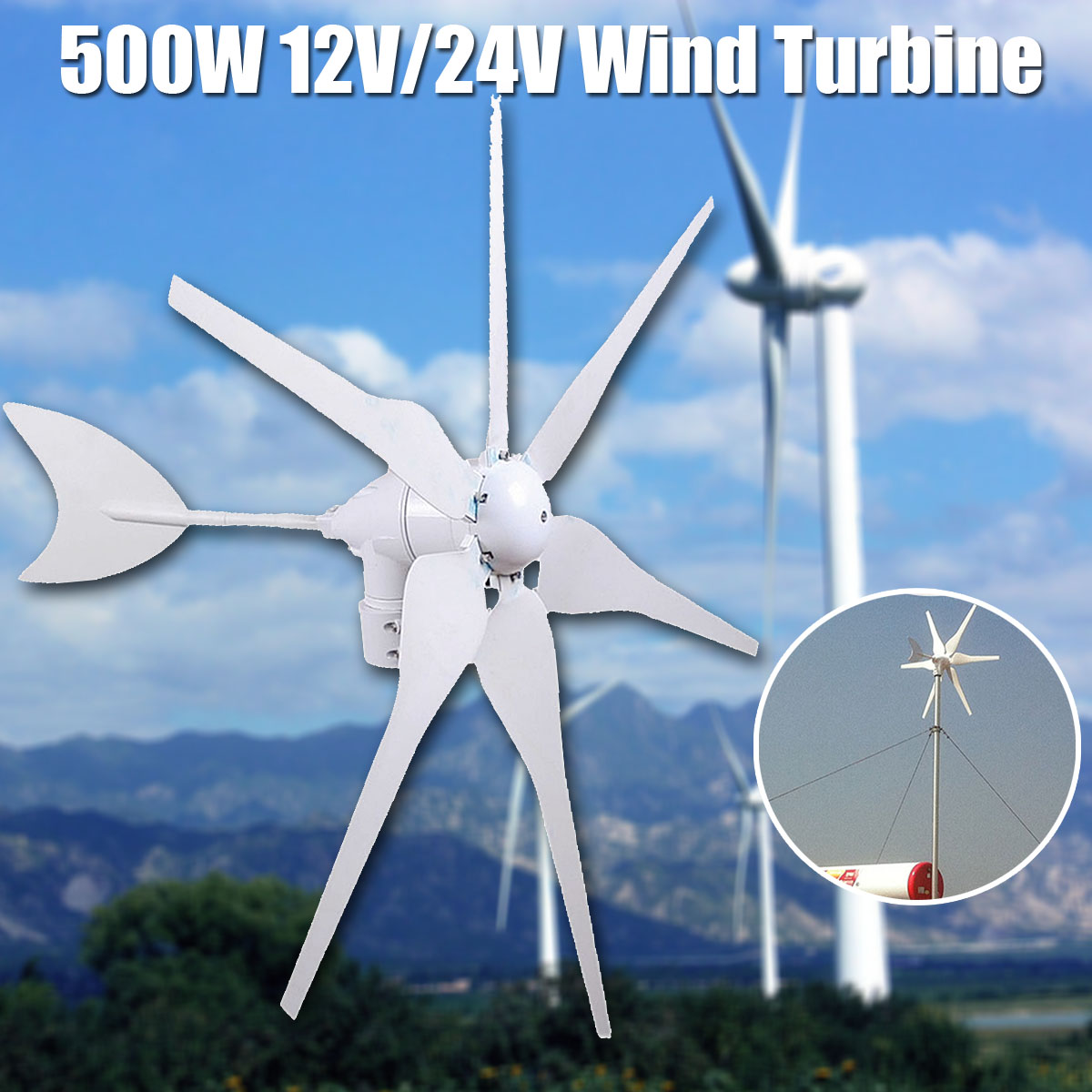 500 W 12 V/24 V Medio ambiente 6 cuchillas Mini aerogeneradores miniatura generador aerogeneradores casa residencial con controlador