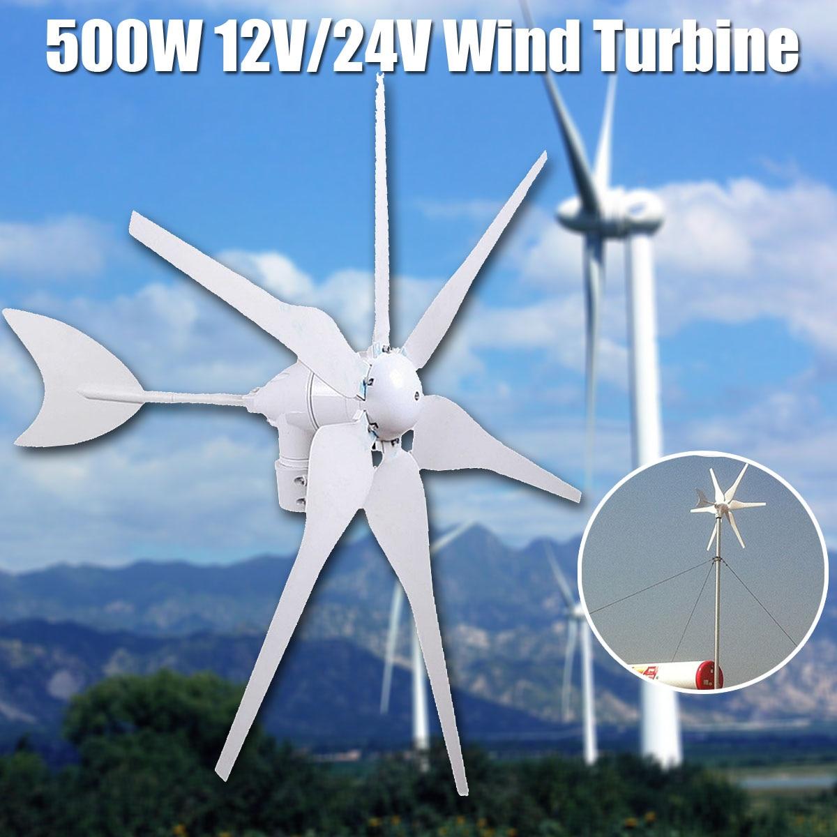 500 w 12 v/24 v Energia Ambientale 6 Lame Mini Turbine Eoliche Generatore di Vento In Miniatura Turbine Casa Residenziale con il Regolatore