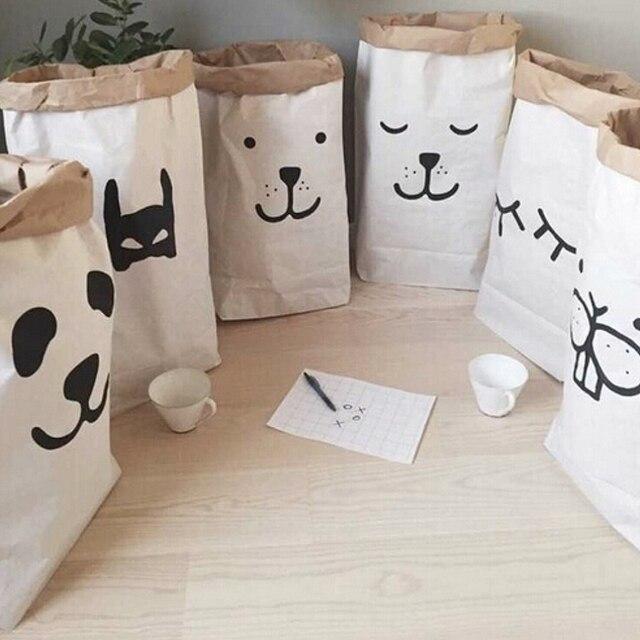 Populaire Lourd Kraft Sac De Papier Enfants Chambre Organisateur Sac De Rangement Sac Pour Jouet Et Bébé Vêtements #84767