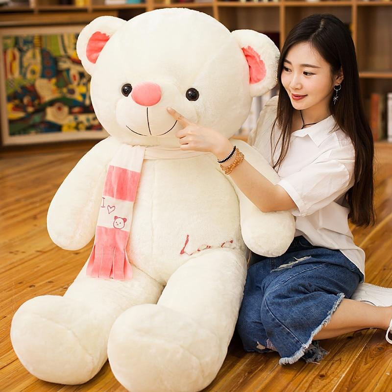 180 cm ours en peluche géant PP Coton joli foulard Grand ours blanc Doux jouets en peluche Animaux En Peluche Petite Amie Cadeaux Câlin Jouet pour le Sommeil