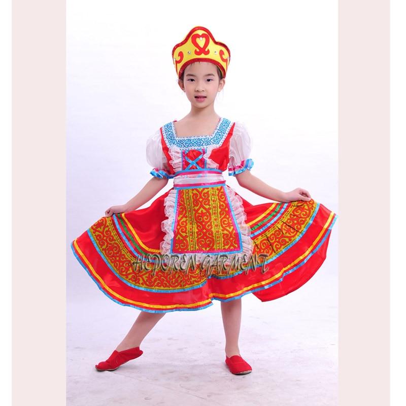 High Quality Customized Children Russian Folk Dance Dress With Headwear Head,Kids Russia Stage Clothes Dancewear Drop Shipping