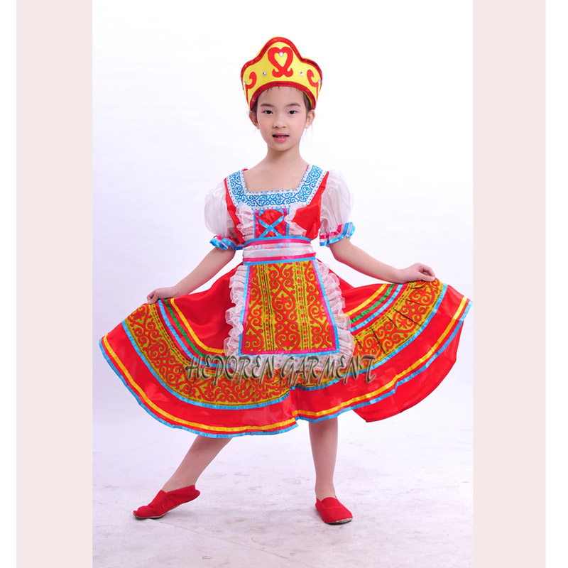 High Quality Customized Children Russian Folk Dance Dress With Headwear Head,Kids Russia Stage Clothes Dancewear Drop Shipping