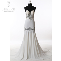 Jusere Off the Shoulder Mermaid Soft Sheath Hollow Out Flower High end Customize Open Back Elegance Wedding Dresses