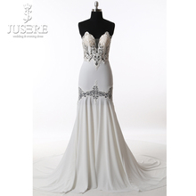 Jusere Off the Shoulder Mermaid Soft Sheath Hollow Out Flower High-end Customize Open Back Elegance Wedding Dresses 2017