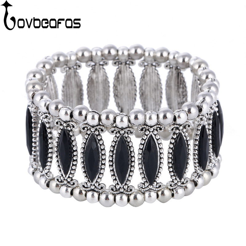 LOVBEAFAS 2018 Fashion Vintage Boho Bracelets Bangles For Women Ethnic Black/White/Red Beads Adjustable Femme Bracelets