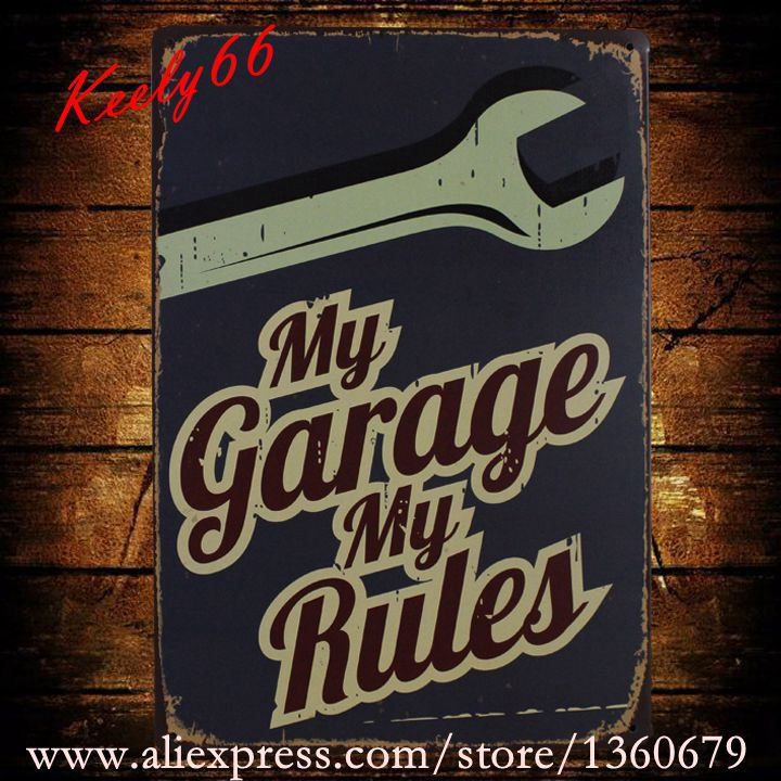 [ Kelly66 ] 20*30 CM Size My Garage My Rules old Metal Plaque Wall Bar Poster Craft AA-427