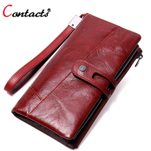 Contact's Women Wallet Female Genuine Leather Wallet Red Women Purse Organizer Credit Card Holder Phone Clutch Ladies Coin Purse