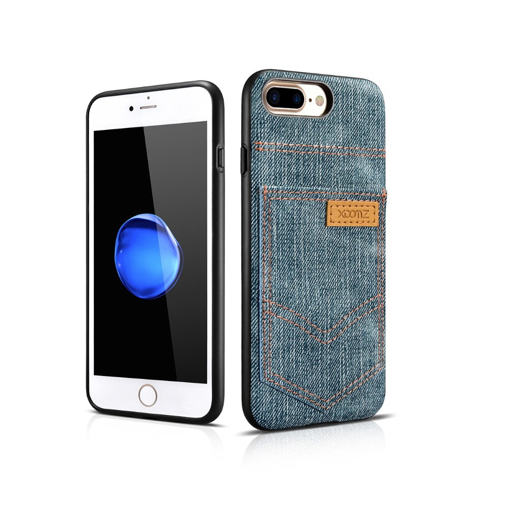 XOOMZ Fashion Jeans Cowboy Pocket Cloth Case With Pocket PU Denim Leather Phone Cover For iPhone 7 7Plus