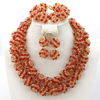Wholesale Dubai Red and Gold Jewelry Set Marvelous Costume Jewelry Set New Handmade Free Shipping BN403