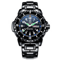 Lujo Mens tritio Luminoso Luz Azul Impermeable Reloj Militar Negro de acero Inoxidable Fecha de cuarzo Reloj de Pulsera relogio GMT