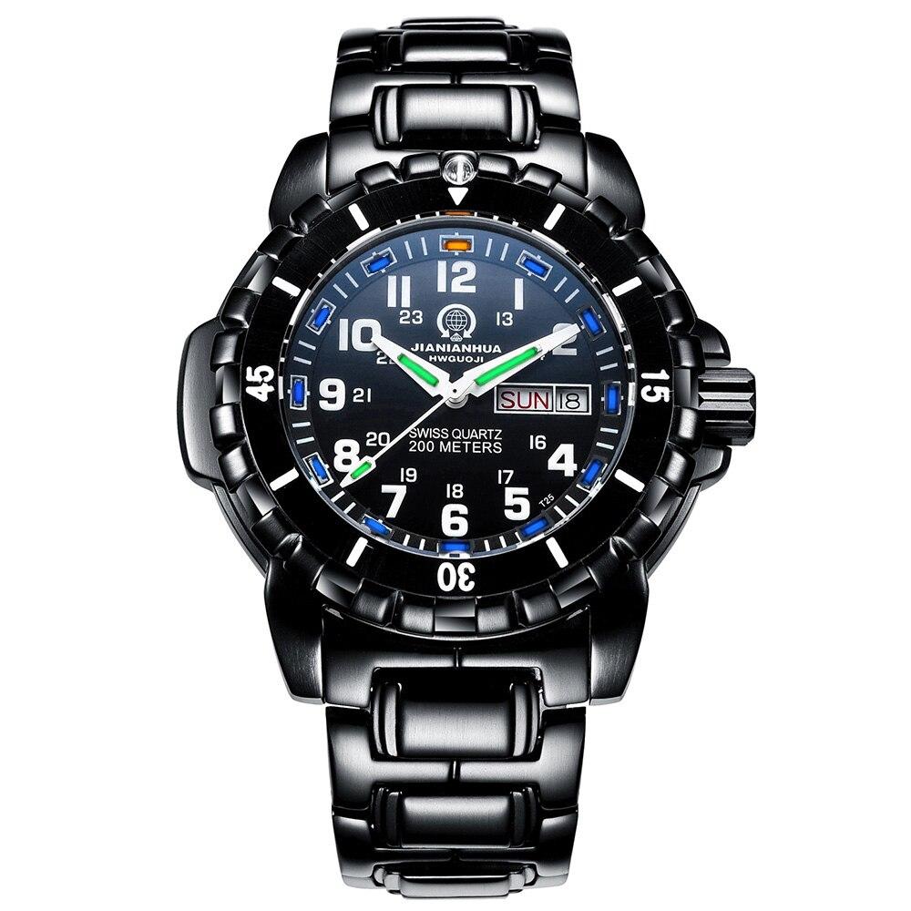 Luxury Mens Luminous tritium Blue Light Waterproof Military Watch Black Stainless steel Date quartz Wristwatch relogio GMT stylish 8 led blue light digit stainless steel bracelet wrist watch black 1 cr2016