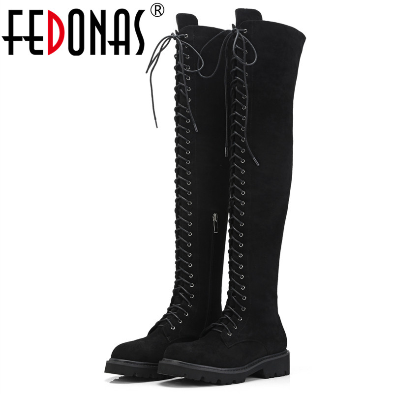 FEDONAS 1Fashion Women Over The Knee Boots Autumn Winter Warm High Heels Shoes Woman Round Toe Cross-tied Casual Stretch Boots fedonas top fashion women winter over knee long boots women sper thin high heels autumn comfort stretch height boots shoes woman