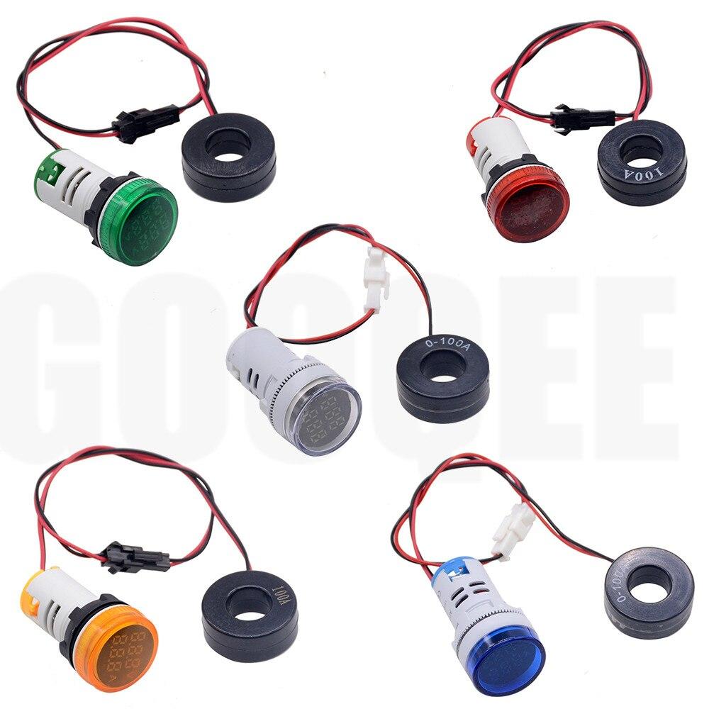 22mm AC 20-380V 0-100A Round Mini Digital Voltmeter Ammeter  Amp Volt Voltage Tester Meter Dual LED Indicator Pilot Lamp Light