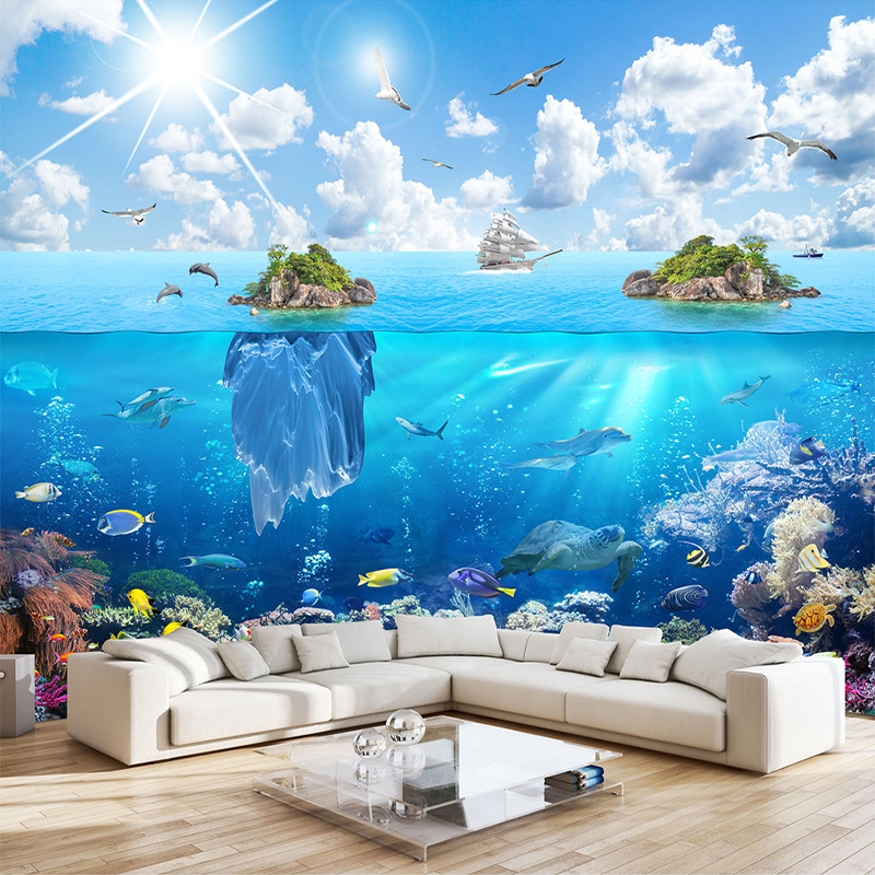 Custom 3D Photo Wall Paper Underwater World Island Landscape Mural Living Room Bedroom TV Background Decoration 3D Wall Painting
