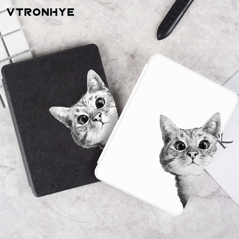 Tablet Cover For Amazon Kindle Paperwhite 3 Case Lovely Cute Cat Print PU Leather Auto Sleep Smart Case For Kindle Paperwhite 12
