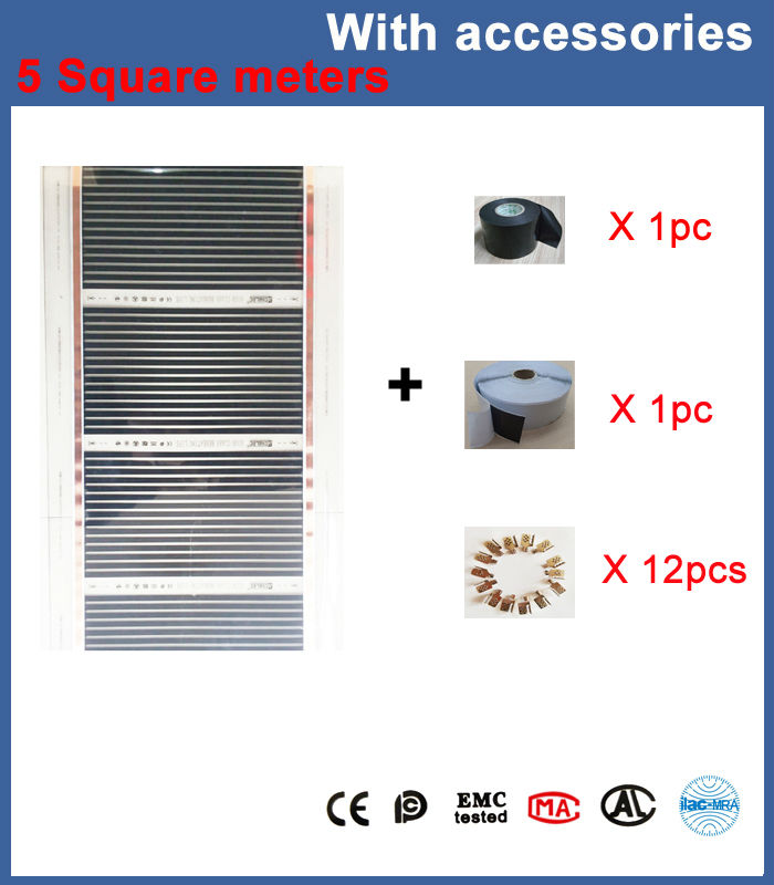 Free Shipping 5 Sq Meters Floor Heating Film  50CM*10M With Clamps, Insulation Daub And Insulation Tap hot free shipping 10 square meter floor heating films thermostats clamps piler black tape insulating daub 0 5m 20m 220vac