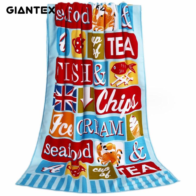 GIANTEX Print Super Absorbent Bath Beach Towels Soft Microfiber Towels Drying Washcloth Swimwear Shower 70x150cm U1723