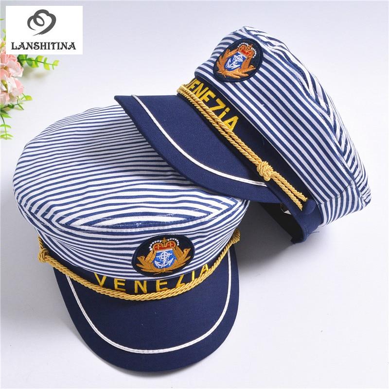 New Striped Navy Cap for Adult Children Fashion Military Captain Hats Caps Women Men Boys Girls Sailor Hats Army Naval Caps
