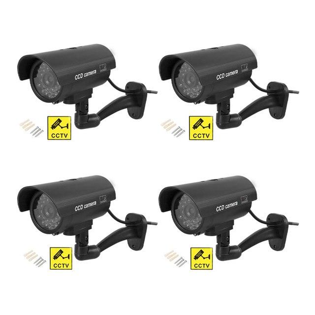 4 قطعة كاميرا وهمية مقاوم للماء وهمية في الهواء الطلق داخلي رصاصة الأمن CCTV كاميرا مراقبة وامض الأحمر LED شحن مجاني