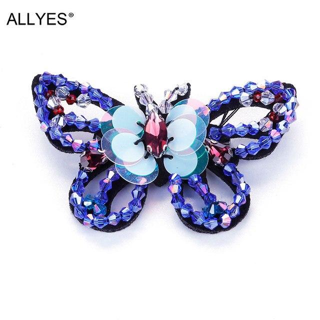 Allyes Синий прекрасная бабочка Броши для Для женщин акрил Блёстки Кристалл Бусины бижутерия большой с лацканами Булавки брошь значок