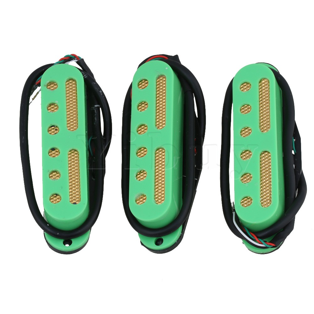 Yibuy 48 / 50 / 52mm Green Electric Guitar 4 Wire Single Coil Pickup to Humbucker Pack of 3 belcat bass pickup 5 string humbucker double coil pickup guitar parts accessories black
