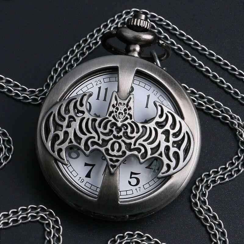 Bronze Hollow Batman Pocket Watch Necklace Vintage Quartz Watch Gift For Boys Girls
