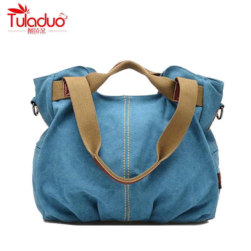 7e2db571e9 TULADUO 2017 High Quality Canvas Women Shoulder Bags Large Ladies Messenger  Bags Designer Brand Vintage Women s