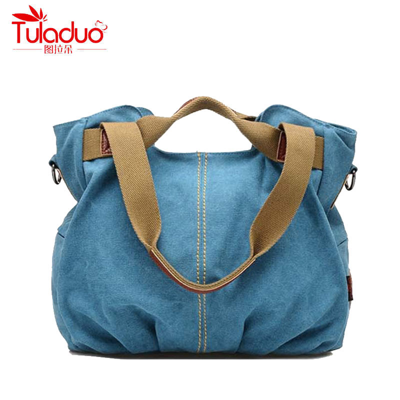 TULADUO 2017 High Quality Canvas Women Shoulder Bags Large Ladies Messenger Bags Designer Brand Vintage Womens Crossbody Bags