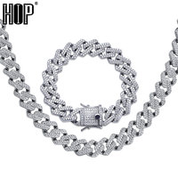 Hip Hop Iced Out AAA Zircon Crystal Rhinestone 14MM Miami Cuban Link Chain Necklace Bracelet Gold Silver for Men Jewelry