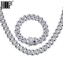 Hip Hop Iced Out AAA Zircon Crystal Rhinestone 14MM Miami Cuban Link Chain Necklace Bracelet Gold Silver for Men Jewelry цены