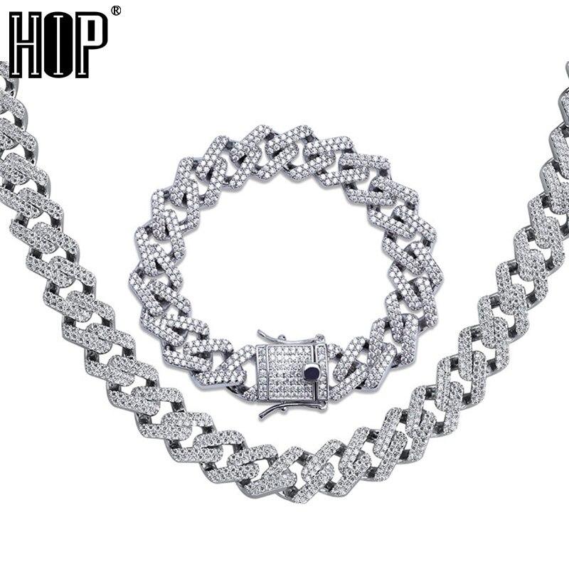 Hip Hop glacé AAA Zircon cristal strass 14MM Miami cubain lien chaîne collier Bracelet or argent pour hommes bijoux