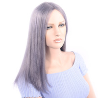 LADYSTAR Brazilian Remy Human Hair Wigs 150% Density Wigs For Women Middle Length Lace Part Hand Made Straight Wigs Grey Color