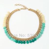 Błyszczące kolor złoty łańcuch zielone kamienie choker naszyjnik