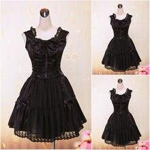 Kunden zu bestellen! V-986 Schwarz Spitze ärmellose knielangen Gothic Lolita Kleid schuluniform kleider Cosplay Cocktailkleid