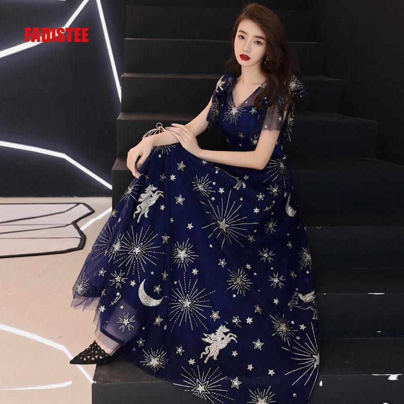 100% Wahr Fadistee Neue Ankunft Abend Prom Party Kleider Vestido De Festa Kleid Robe De Soiree Spitze Muster Little Star Mond V-ausschnitt Navy Delikatessen Von Allen Geliebt