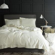 Cama de algodão egito 1000tc, conjunto de roupa de cama cinza branca e branca em 4 peças de cama king e queen, lençol de cama de algodão linge de iluminação