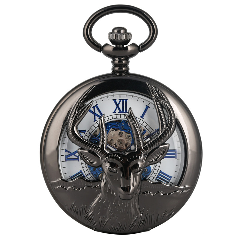 Goat Hollow Out Mechanical Pocket Watch For Men Roman Numeral Mechanical Pocket Watches Premium Chain Gift For Pocket Watch