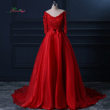 Fmogl Luxury Three Quarter Red A Line Wedding Dress 2019