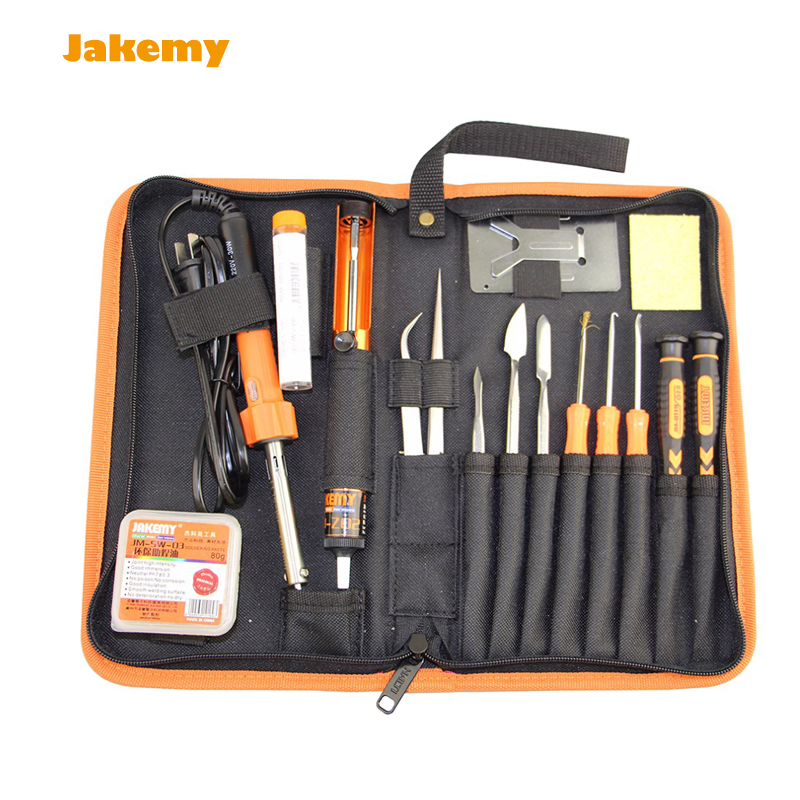 Electric DIY Welding Soldering Iron Tool Set 17 in 1 JM-P04 Professional Fluxing kit + screwdriver set + tweezers + pry tools mig mag burner gas burner gas linternas wp 17 sr 17 tig welding torch complete 17feet 5meter soldering iron air cooled 150amp