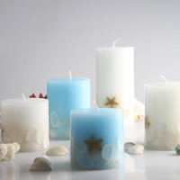 White Blue Sea Shells Starfish Romantic Wedding Essential Art Candles Smokeless Scented Decorative Candle Wax