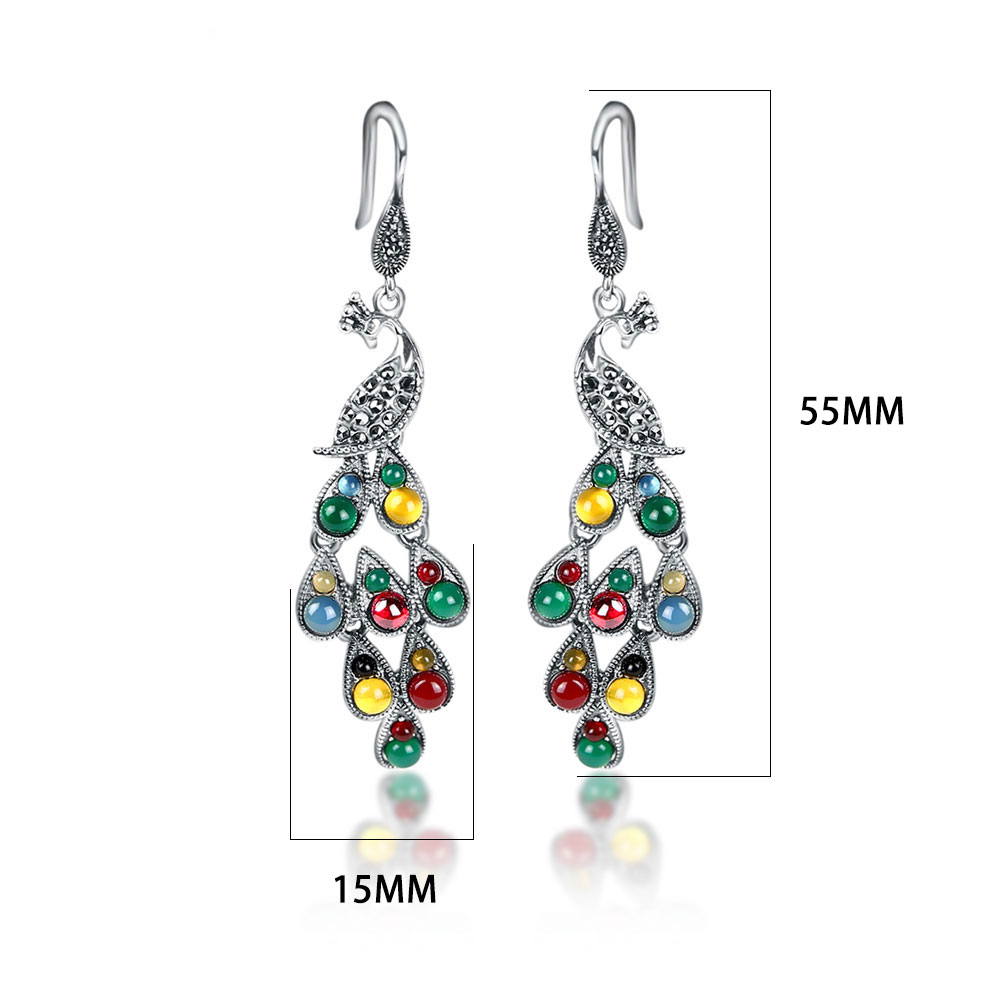 Image 3 - JIASHUNTAI Silver 925 Earrings Vintage Peacock Earrings Colorful  Retro 100% Sterling Silver Jewelry For Women Natural Stoneearrings 925  silver sterlingjewelry silver earringssilver 925 stone