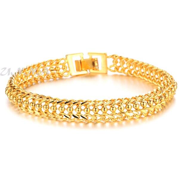 8mm Women S Boys Gold Filled Bracelet W Beads Chain Royal Accessories Short 17 5cm