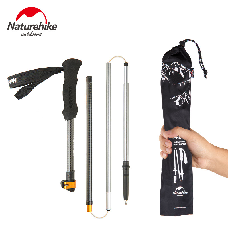 Naturehike 1pc 5 section Carbon Fiber Walking Stick Ultralight Adjustable Trekking Pole 135cm 234g
